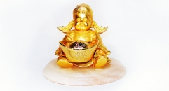 Luxury golden 24K home decor metal craft God of wealth decoration , European-style home accessories vintage ornaments