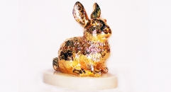 Exquisite golden 24K home decor metal craft rabbit decoration , European-style home accessories vintage ornaments