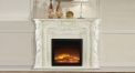 Modern Decorative Electric Flame Fireplace Insert Heater 4 Color White Oak Frame Refined Carving