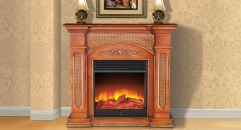 Electric Flame Fireplace Insert Heater Modern Decorative Firebox White Oak Frame Refined Carving