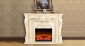 Electric Flame Fireplace Insert Heater 3 Color Modern Decorative Firebox White Oak Frame Refined Carving