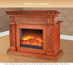 Modern Decorative Checkout Counter Electric Flame Fireplace Insert Heater White Oak Frame Refined Carving