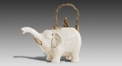 White Crack Pattern Decorative Elephant Shape Teapot Luxury Ceramic Exquisite Water Pot Flagon