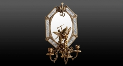 Porcelain and Brass Angel Decorative Mirror w/ Candlesticks Luxury Art Wall Decor