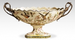 Antique Crack Pattern Bird and Flower Decorative Fruit Bowl w/ Brass Handles Luxury Compote