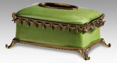 Luxury Green Crack Pattern Decorative Tissue Box Cover Case Vintage Porcelain Art