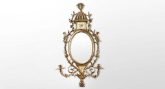 Brass Refined Carving Mirror w/ Candlesticks Luxury Art Decor