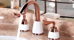 New Design 8 inch Widespread Luxury natural jade Bathroom Faucet