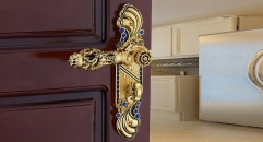 European Style Antique Zinc Alloy Door Lock Refined Pierced Handle Luxury Locks