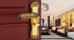 European Antique Zinc Alloy Door Lock Refined Pierced Handle Luxury Locks