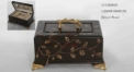 Dark brown with gold flowers decorative handmade wood and brass jewel box, vintage style jewelry storage