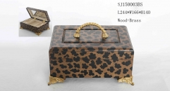 leopard theme handmade wood and brass jewel box, vintage style jewelry storage