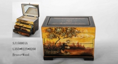 Sunset theme handmade wood and brass jewel box, vintage style jewelry storage