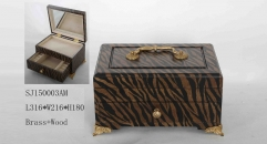 Brown and black stripe handmade wood and brass jewel box, vintage style jewelry storage