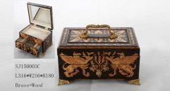 Mythical creatures theme handmade wood and brass jewel box, vintage style jewelry storage