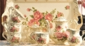 8 pieces classical european style coffee set with tray, bone china tea set, high quality rose theme coffee set