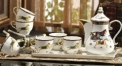 8 pieces classical european style coffee set with tray, bone china tea set, high quality horses theme coffee set