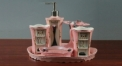 6pcs Precious Modern pink glaze porcelain bathroom set ,tray, tumbler,toothbrush holder,soap dish,lotion bottle,