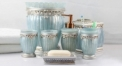 7pcs antique blue resin bathroom set , rubbish bin, tissue box,cup, toothbrush holder, soap dish, lotion bottle, wedding gift