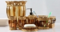 7pcs classical brown resin bathroom set , rubbish bin, tissue box,cup, toothbrush holder, soap dish, lotion bottle, wedding gift