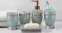 5 pcs classical luxury blue resin bath set, cup, toothbrush holder,soap dish,lotion bottle, Christmas gift