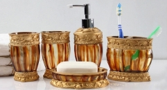 5pcs classical brown resin bathroom set , cup, toothbrush holder, soap dish, lotion bottle, wedding gift