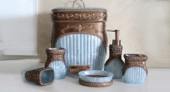 6pcs luxury blue resin bathroom set , rubbish bin, cup, toothbrush holder, soap dish, lotion bottle, wedding gift