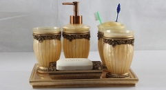 6pcs Precious beige resin bathroom set ,tray, tumbler,toothbrush holder,soap dish,lotion bottle, wedding gift