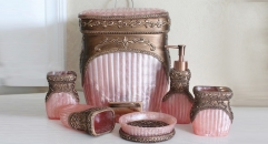 6pcs luxury pink porcelain bathroom set , rubbish bin, cup, toothbrush holder, soap dish, lotion bottle, wedding gift
