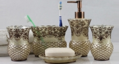 5 pcs superior luxury lace style resin bath set, cup, toothbrush holder,soap dish,lotion bottle, Christmas gift
