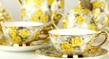 15 pieces luxury yellow roses european style coffee set, bone china tea set, high quality and fashion coffee set