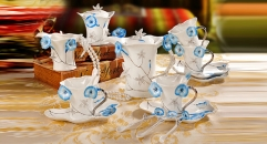 15 pieces the blue Morning glory style coffee set, bone china tea set, high quality and fashion coffee set