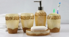 5 pcs luxury pearl decorative resin bath set, cup, toothbrush holder,soap dish,lotion bottle, Christmas gift