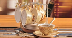 19 pieces the royal gold style coffee set, bone china tea set, high quality and fashion coffee set