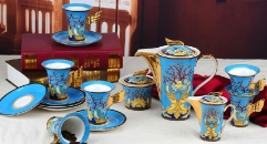 15 pieces golden ocean style coffee set, bone china tea set, high quality and fashion coffee set