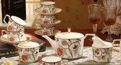 15 pieces the Bohemia style coffee set, bone china tea set, high quality and fashion coffee set