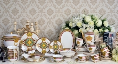 69 pieces Exquisite golden crown tea set classical ceramic cofee and tea set , dining set