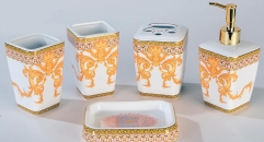 5pcs Precious royal bathroom set , tumbler,toothbrush holder,soap dish,lotion bottle, wedding gift