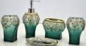 5pcs green color high quality resin bathroom set , tumbler,toothbrush holder,soap dish,lotion bottle, wedding gift