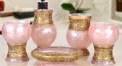 5pcs pink color with gold relief decorative resin bathroom set , tumbler,toothbrush holder,soap dish,lotion bottle, wedding gift