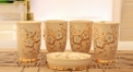 5pcs exquisite hand paint gold flowers bathroom set , tumbler,toothbrush holder,soap dish,lotion bottle, wedding gift