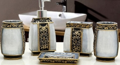 5pcs royal black and gold decorative resin bathroom set , tumbler,toothbrush holder,soap dish,lotion bottle, wedding gift