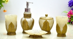 5pcs golden leaves decorative high quality resin bathroom set , tumbler,toothbrush holder,soap dish,lotion bottle, wedding gift