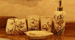 5pcs Beautiful hand paint gold flowers bathroom set , tumbler,toothbrush holder,soap dish,lotion bottle, wedding gift