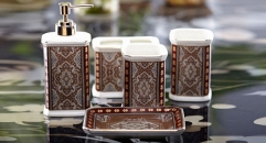 5pcs Luxury Versailles style bathroom set , tumbler,toothbrush holder,soap dish,lotion bottle, wedding gift