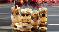 5pcs Luxury bright Gold embroidery bathroom set , tumbler,toothbrush holder,soap dish,lotion bottle, wedding gift