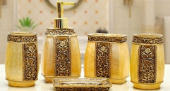 5pcs royal gold decorative resin bathroom set , tumbler,toothbrush holder,soap dish,lotion bottle, wedding gift