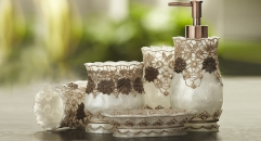 5pcs Luxury white grounding with gold embroidery bathroom set , tumbler,toothbrush holder,soap dish,lotion bottle, wedding gift
