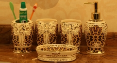 5pcs leopard with white flower bathroom set , tumbler,toothbrush holder,soap dish,lotion bottle, wedding gift