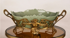 European antique copper and procelain angel style compote , European-style home accessories vintage ornaments fruit tray